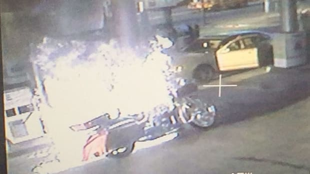 motorcycle on fire