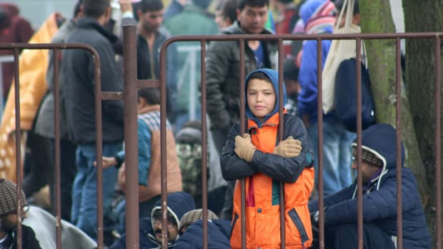 A young refugee boy in Dobova, Slovenia