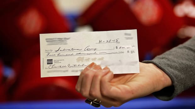 Donation Check for Salvation Army.