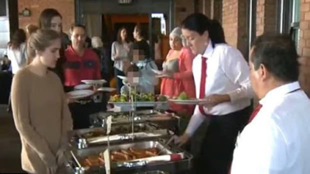 Homeless residents at banquet