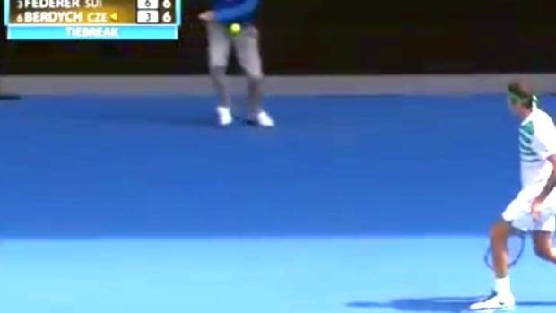 line umpire being hit in groin