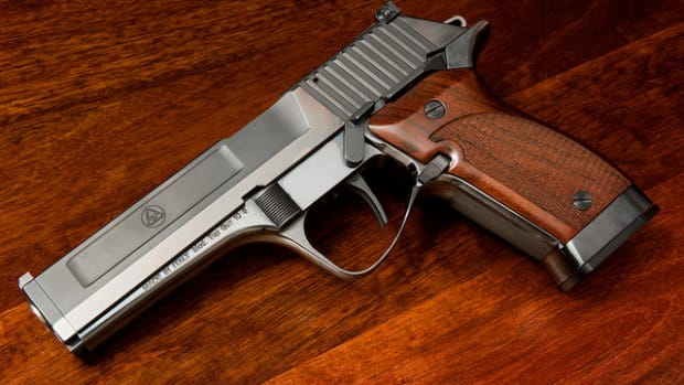 A collection of handguns.