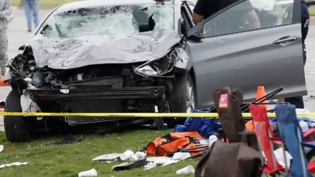 the totaled car of the drunk driver who killed four at oklahoma state university