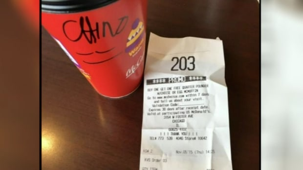 McDonald's coffee cup with 'Chino' written on it