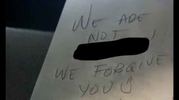 La Peggy's message on receipt
