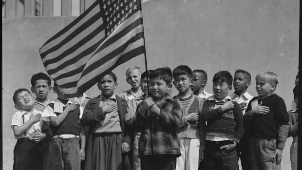 San Francisco school children recite the Pledge of Allegiance in 1942