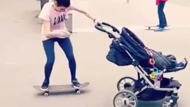 Mom Shows Off Impressive Skateboarding Skills (Video) Promo Image