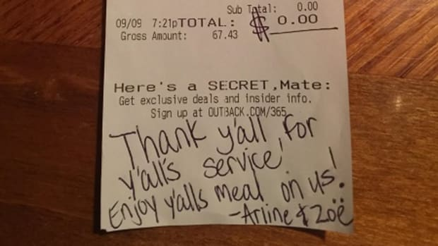 Outback Steakhouse receipt