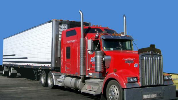 red and white semi truck