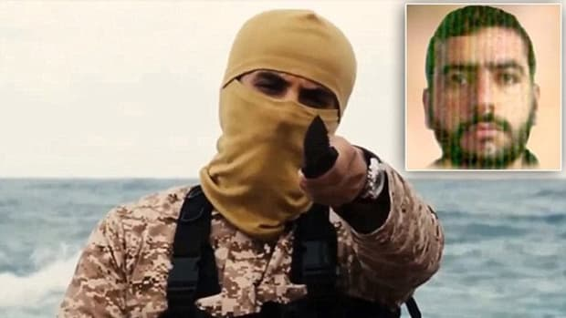 Abu Nabil is pictured here masked in a video showing the execution of Christians. The image at the top right shows the ISIS leader unmasked.