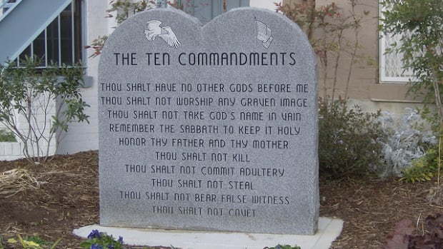 A Ten Commandments Monument
