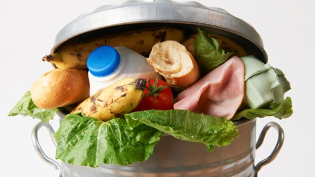 Food in a trash can
