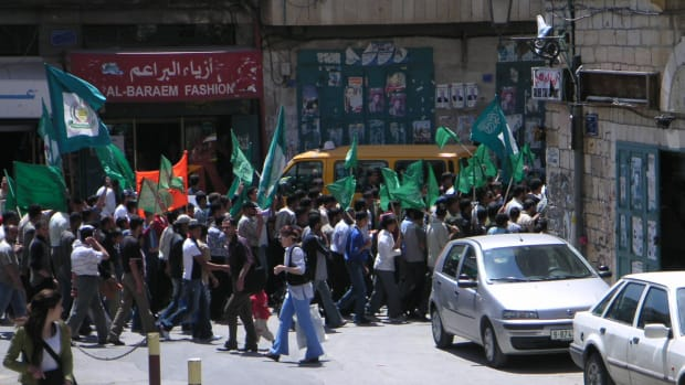 Hamas supporters rallying in Bethlehem.