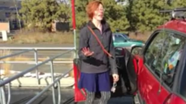mother being confronted in Target parking lot