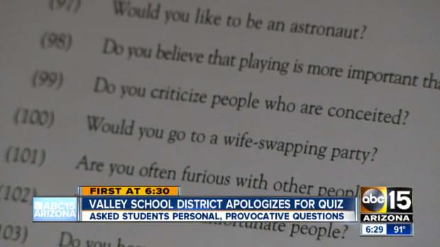 Screenshot of Quiz Questions.