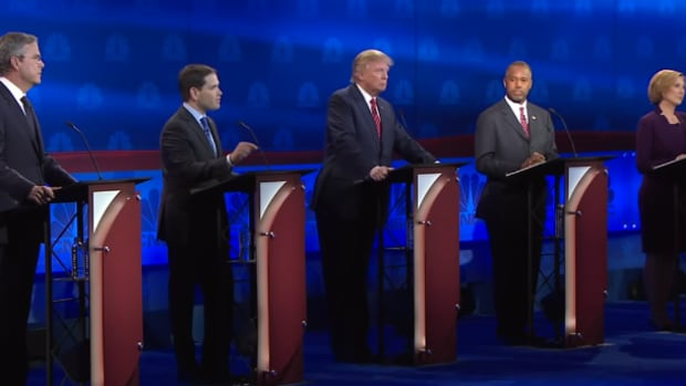 Republican Presidential Candidates At The CNBC Debate.