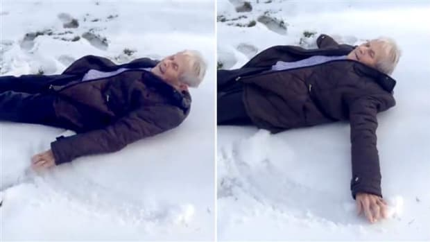 A Grandmother Making A Snow Angel On Her Birthday