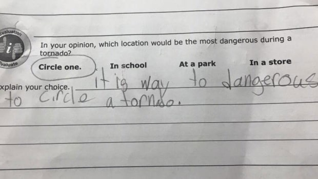 a student's test answer about what to do during a tornado