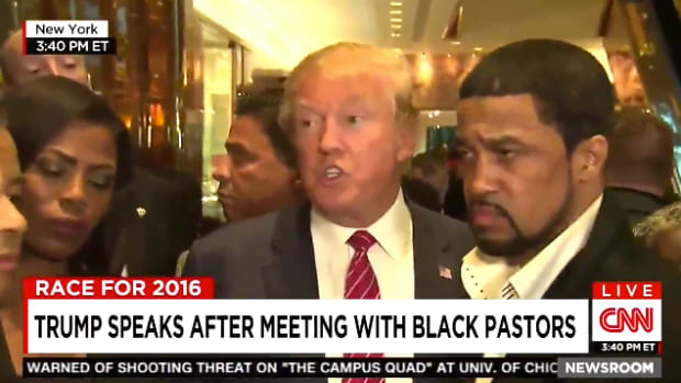 Donald Trump leaving meeting with black pastors, CNN coverage