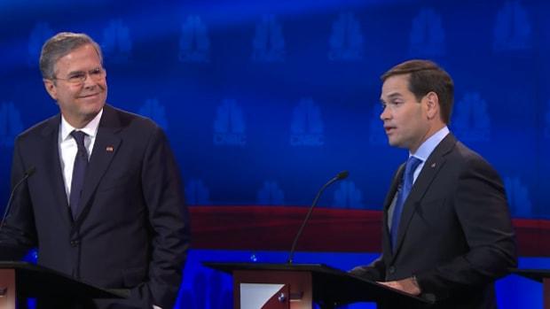 Jeb Bush and Marco Rubio at the Oct. 28 Republican debate