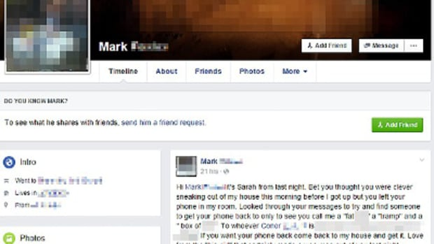 The Facebook message supposedly written by Mark's date
