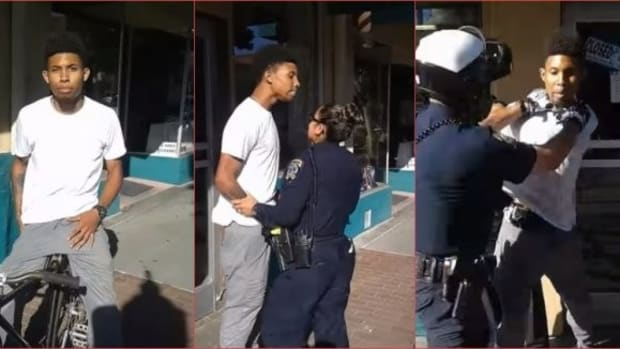 Cops Arresting Man For Riding Bike Goes Viral (Video) Promo Image