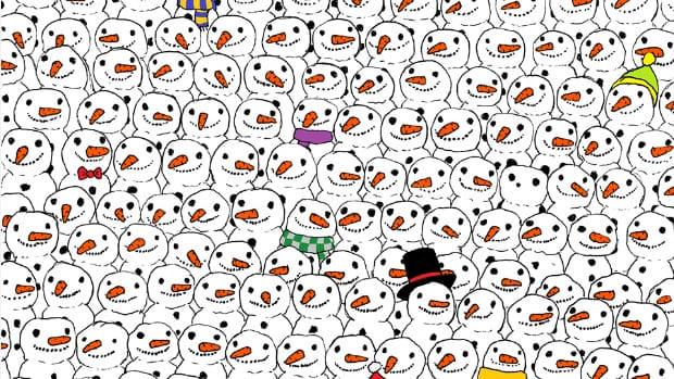 drawing of several snowmen containing a hidden panda