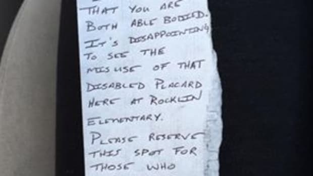 a note left on McMillin's car