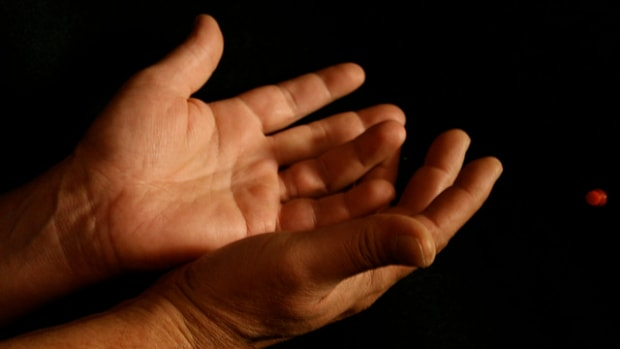 palms of a person's hands (stock photo)