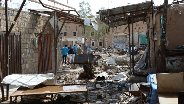 Yemeni city of Sa'ada after being hit by airstrikes