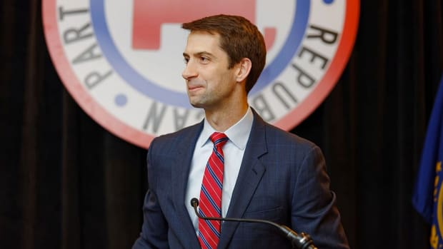 Sen. Tom Cotton Finds Constituent Backlash At Town Hall Promo Image