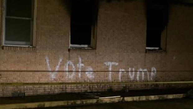 Black Church Burned, 'Vote Trump' Written On Wall Promo Image