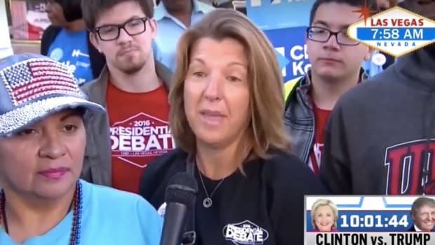 Woman Says Vote For Trump To Oppose Vaccines (Video) Promo Image