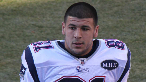 Aaron Hernandez Found With Bible Verse On Forehead Promo Image