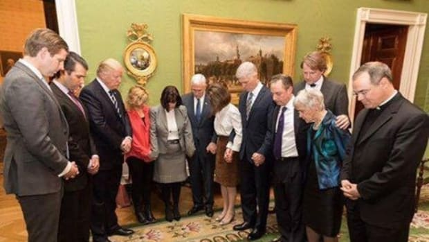Photo Of Trump Prayer Circle Going Viral Online Promo Image