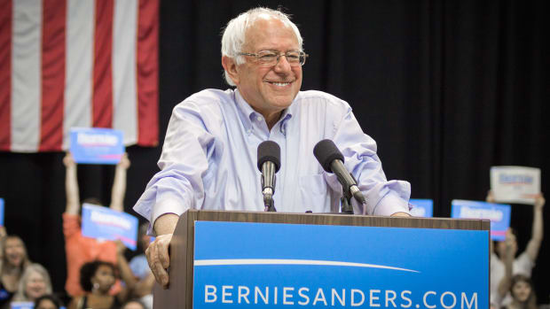 Sanders To Unhappy Supporters: Imagine President Trump Promo Image