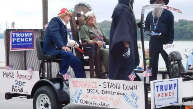 Trump 'Executes' Clinton In Indiana Parade Float (Video) Promo Image