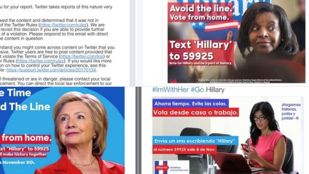 Trump Fans Impersonate Clinton, Tweet Fake Voting Info Promo Image