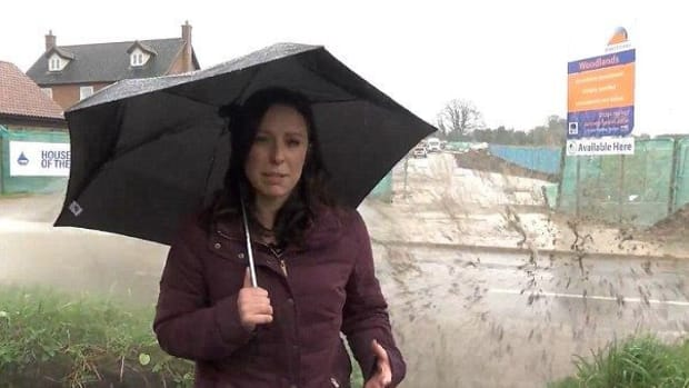 UK Reporter's Story Gets Drowned Out By Rain (Video) Promo Image