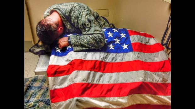 Soldier Drapes Dog In Flag In Heartbreaking Photo Promo Image