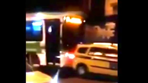 Bus Driver Rams Taxi Cab Down Street In Rio (Video) Promo Image