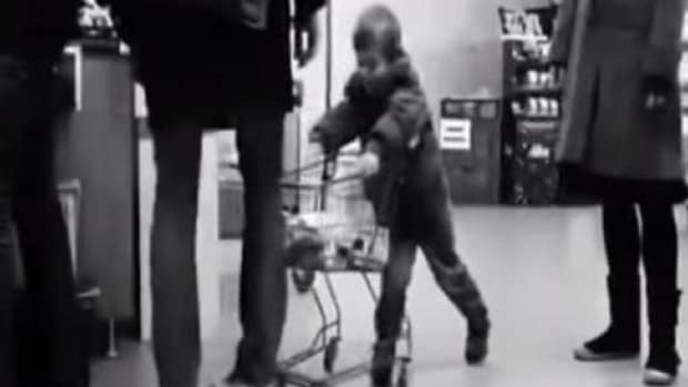 Watch Man's Unexpected Response When Young Boy Keeps Hitting His Leg With Cart Promo Image