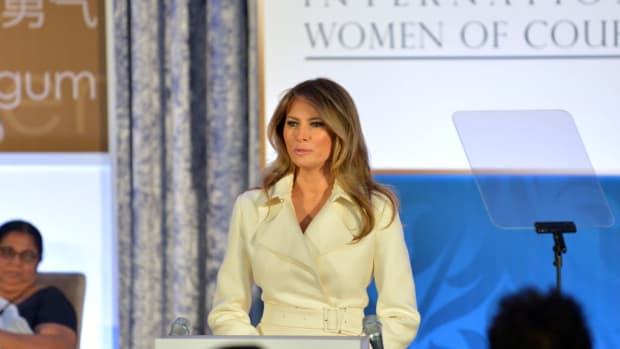 Melania Trump Breaks Tradition At First Lady's Luncheon  Promo Image