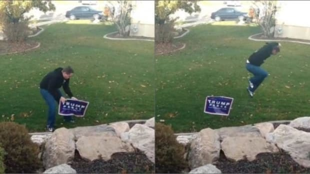 Man Tries To Steal Trump Sign, Learns His Lesson (Video) Promo Image