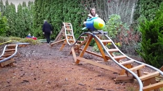 Grandad Builds Amazing Roller Coaster In Backyard (Video) Promo Image