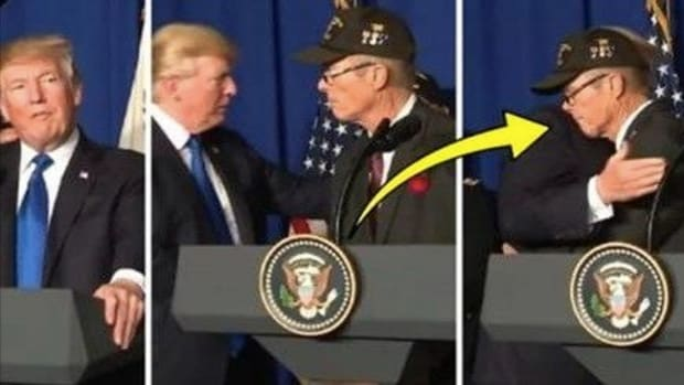 Trump Invites Vietnam Vet Up To Stage, What's Left On President's Shoulder Stuns Viewers Promo Image