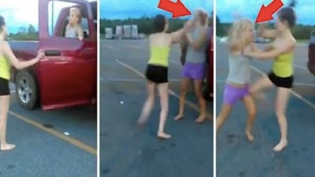 Southern Girls Cat Fight In Walmart Parking Lot, Bully Suffers Shocking Wardrobe Malfunction Promo Image