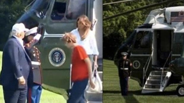 Critics Attack After Seeing What Barron Did While Stepping Off Marine Force One Promo Image