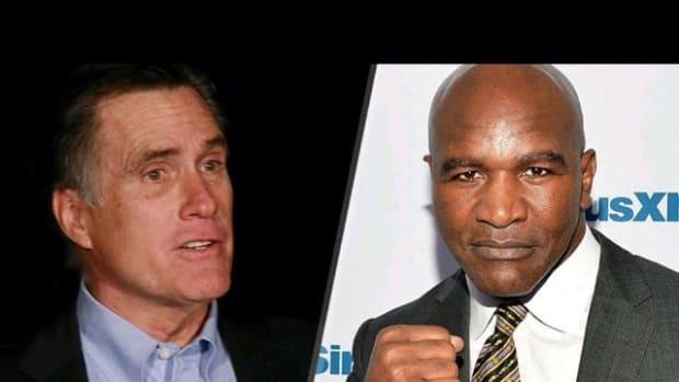 Mitt Romney and Evander Holyfield.