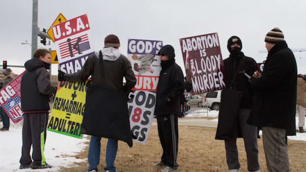 Bikers Stand Guard Against Westboro Baptist Protesters Promo Image